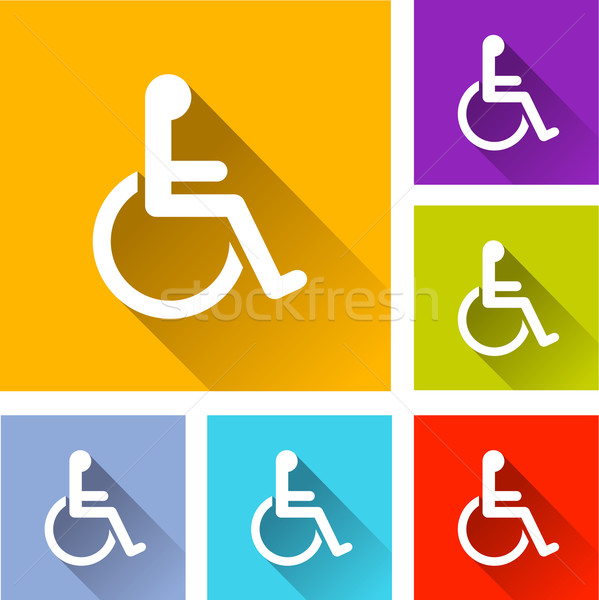 Handicap icônes illustration design orange Photo stock © nickylarson974