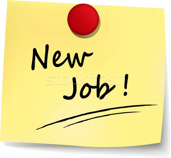 új állás citromsárga jegyzet illusztráció fehér siker Stock fotó © nickylarson974