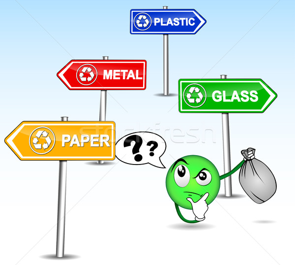 Difficulté déchets humoristique illustration nature recycler Photo stock © nickylarson974