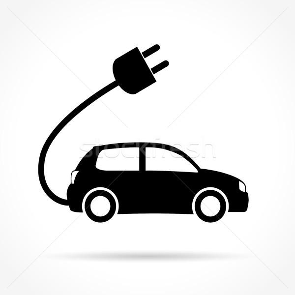 Foto stock: Coche · eléctrico · icono · ilustración · blanco · coche · signo
