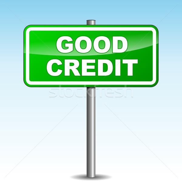 Vektör iyi kredi tabelasını yeşil gökyüzü Stok fotoğraf © nickylarson974