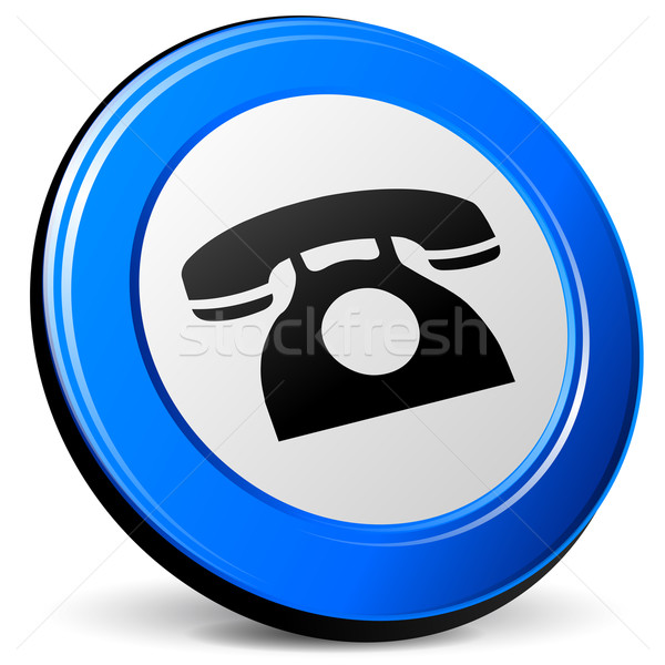 вектора телефон 3D синий икона белый Сток-фото © nickylarson974