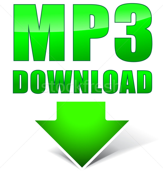 Vektor mp3 grünen Symbol Download Icon weiß Stock foto © nickylarson974