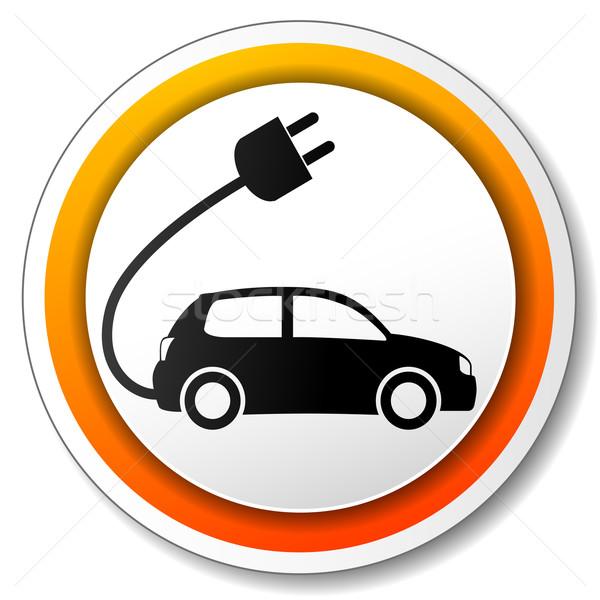Carro elétrico ícone ilustração branco laranja carro Foto stock © nickylarson974