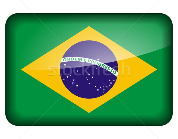 brazilian flag icon Stock photo © nickylarson974