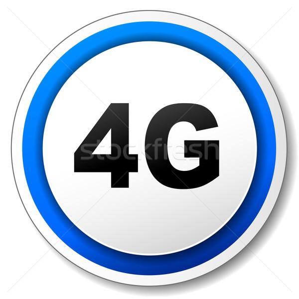 Vektör 4g ikon siyah mavi Internet Stok fotoğraf © nickylarson974
