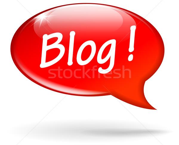 Vetor blog balão de fala vermelho fundo caixa Foto stock © nickylarson974