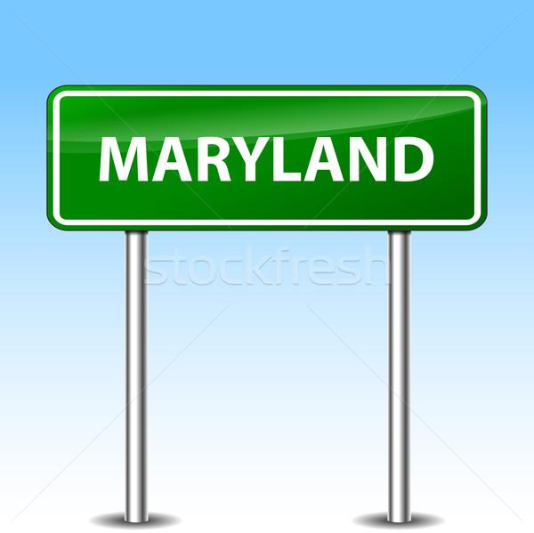 Мэриленд зеленый знак иллюстрация металл дорожный знак Сток-фото © nickylarson974