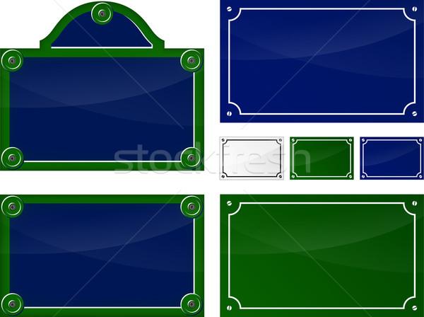 Párizsi tányérok illusztráció francia szett terv Stock fotó © nickylarson974