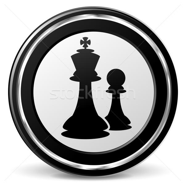 шахматам икона иллюстрация черный серебро металл Сток-фото © nickylarson974
