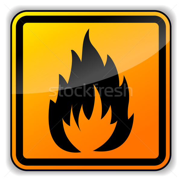 Carré inflammable signe blanche feu internet Photo stock © nickylarson974