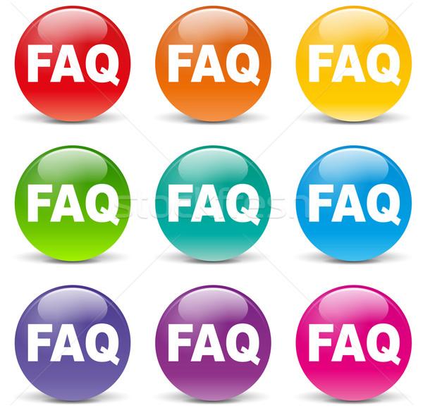 Colorido faq ícones branco pergunta botão Foto stock © nickylarson974