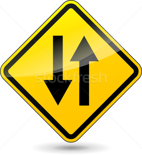Vector two way yellow sign Stock photo © nickylarson974