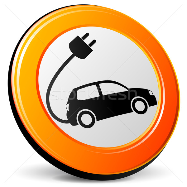 Coche eléctrico icono ilustración 3D diseno naranja Foto stock © nickylarson974