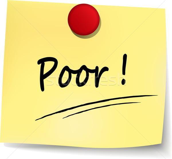 Pobres signo ilustración amarillo nota dinero Foto stock © nickylarson974