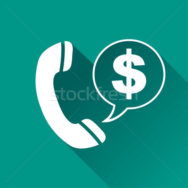 Zdjęcia stock: Telefonu · ikona · Dolar · dymka · ilustracja · ceny