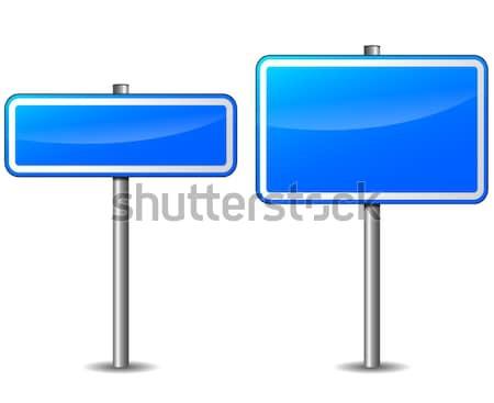 Vector Blauw wegwijzer ingesteld witte teken Stockfoto © nickylarson974