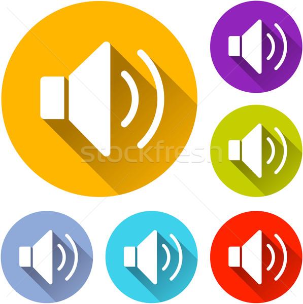 Dźwięku ikona sześć kolorowy projektu podpisania Zdjęcia stock © nickylarson974