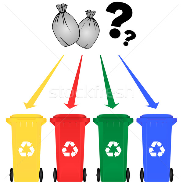 Seçici çöp kutusu kâğıt Metal yeşil mavi Stok fotoğraf © nickylarson974