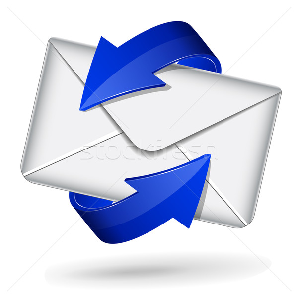 Mail icon with blue arrows Stock photo © nickylarson974