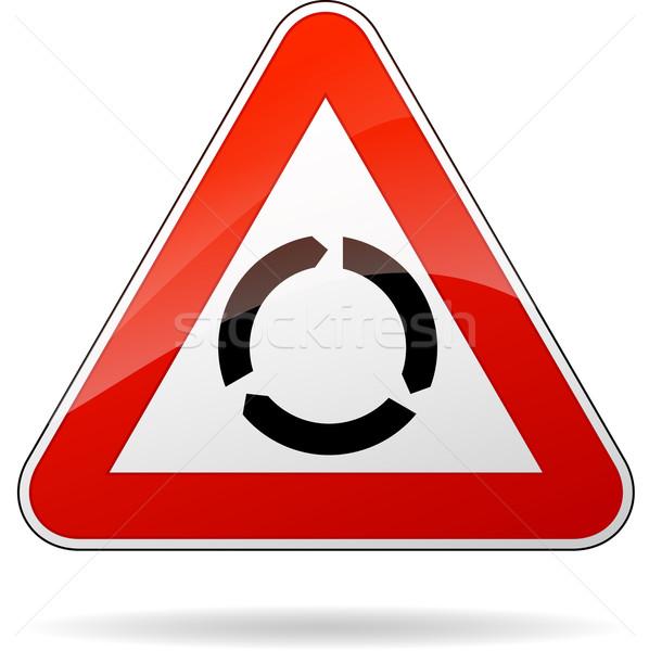 Rotonde teken illustratie driehoek achtergrond Stockfoto © nickylarson974