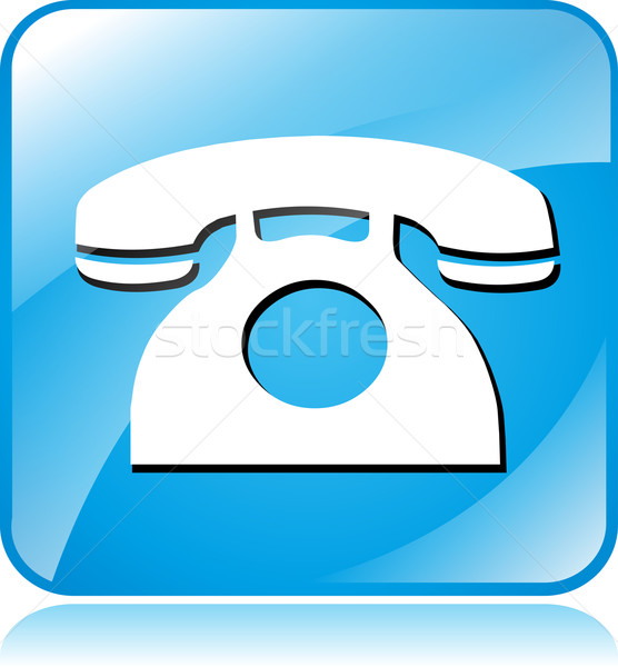 blue phone icon Stock photo © nickylarson974