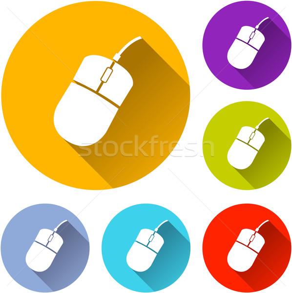 Компьютерная мышь иконки шесть красочный дизайна мыши Сток-фото © nickylarson974