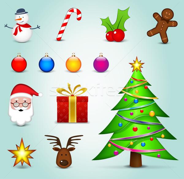 Foto stock: Navidad · iconos · colorido · ilustración · diseno · cuadro