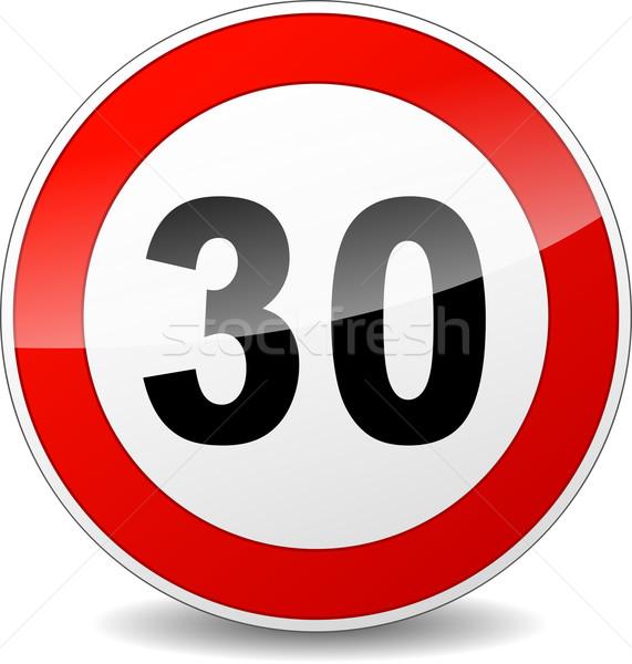 Limite de velocidade assinar ilustração vermelho preto projeto Foto stock © nickylarson974