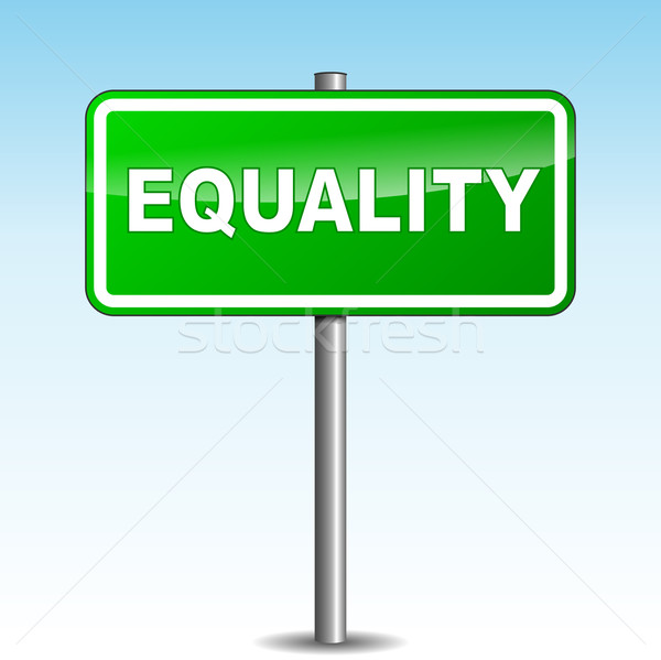 Vektor egyenlőség útjelző tábla zöld siker bemutató Stock fotó © nickylarson974