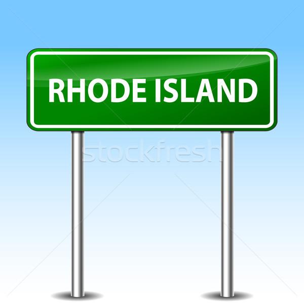 Rhode Island yeşil imzalamak örnek Metal yol işareti Stok fotoğraf © nickylarson974