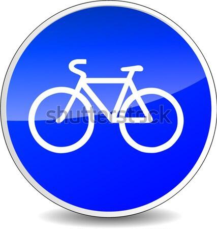велосипед икона иллюстрация 3D синий дизайна Сток-фото © nickylarson974
