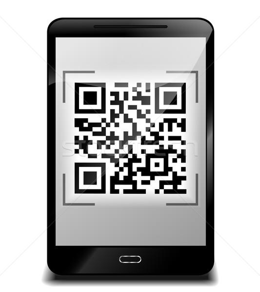 ストックフォト: スマートフォン · デザイン · qrコード · 実例 · インターネット · 携帯