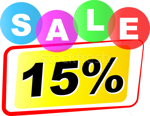 Vetor quinze por cento venda ícone branco Foto stock © nickylarson974