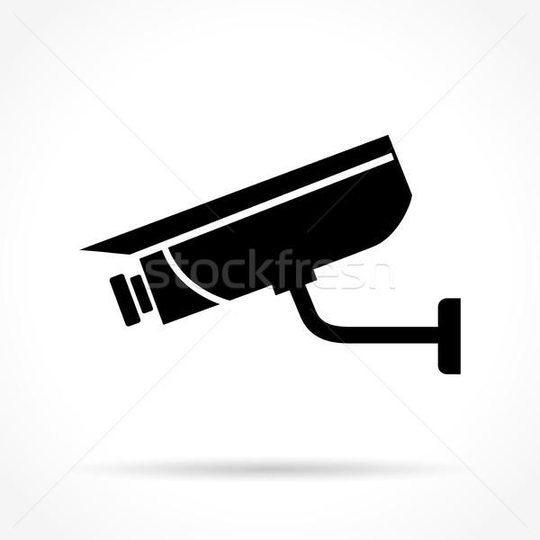 Biztonsági kamera ikon illusztráció fehér biztonság biztonság Stock fotó © nickylarson974