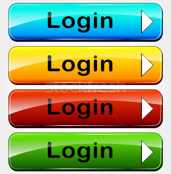 Wektora login przyciski kolorowy Internetu Zdjęcia stock © nickylarson974