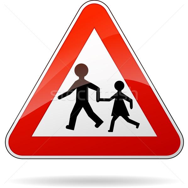 Vector beware pedestrians sign Stock photo © nickylarson974
