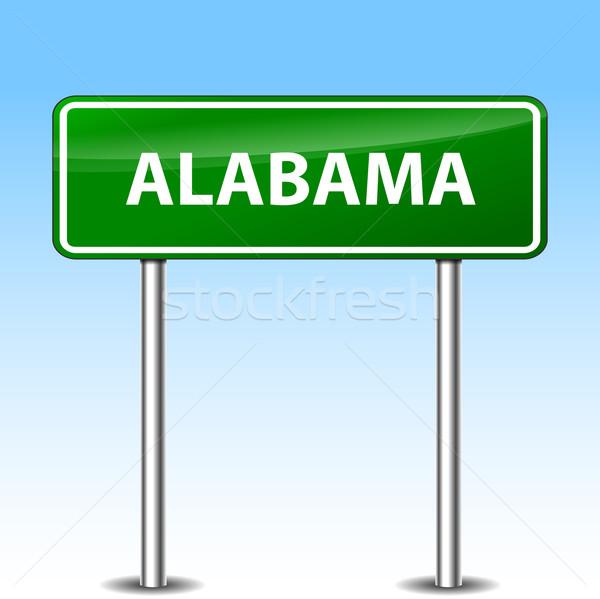 Алабама зеленый знак иллюстрация металл дорожный знак Сток-фото © nickylarson974