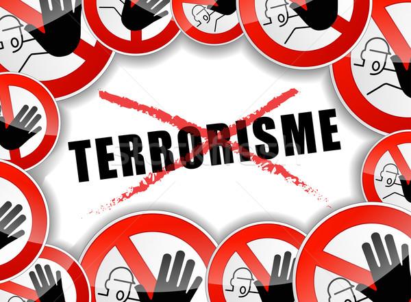 Pas terrorisme illustration français traduction arrêter Photo stock © nickylarson974