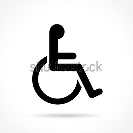 Wózek ikona biały ilustracja krzesło handicap Zdjęcia stock © nickylarson974