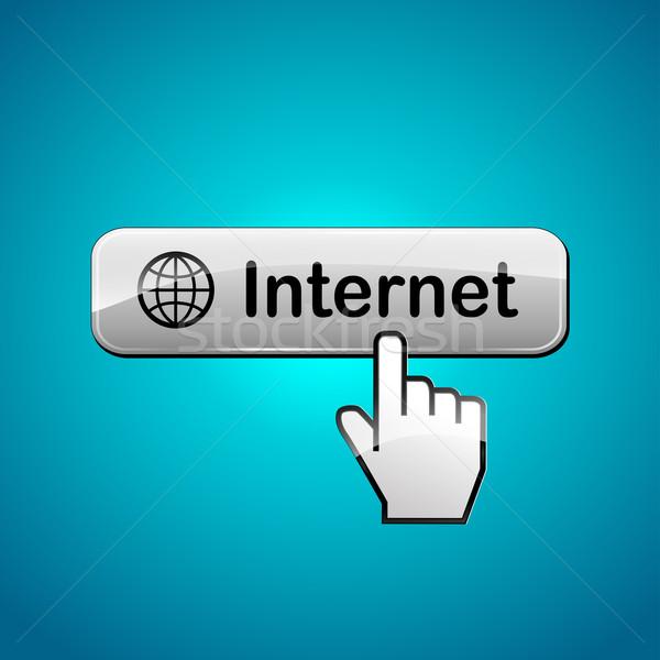 Vektör Internet düğme soyut el Stok fotoğraf © nickylarson974