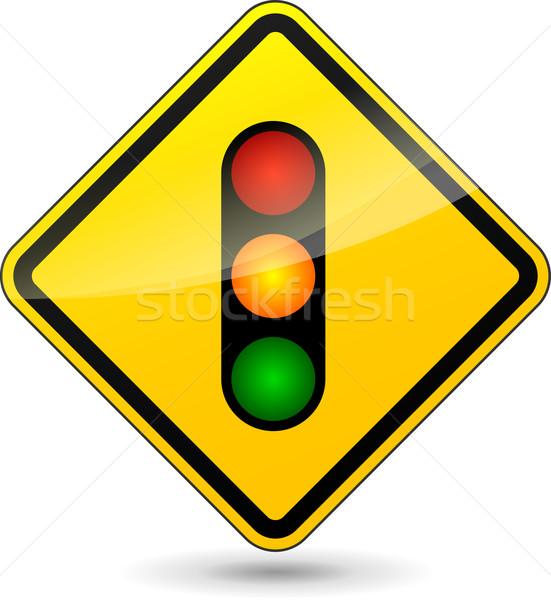 Vector verkeerslichten Geel teken witte achtergrond Stockfoto © nickylarson974