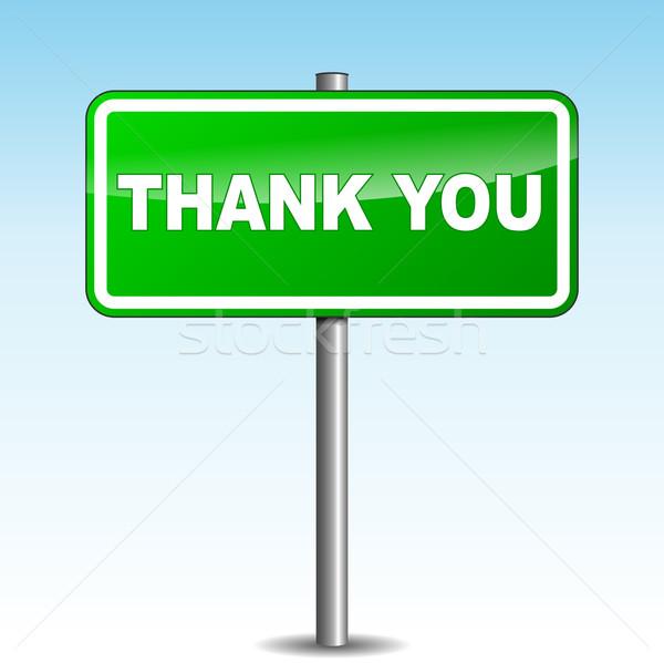 Vektör teşekkür ederim tabelasını gökyüzü soyut imzalamak Stok fotoğraf © nickylarson974