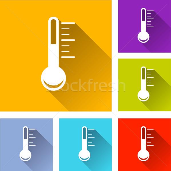 Foto stock: Termômetro · ícones · ilustração · colorido · praça