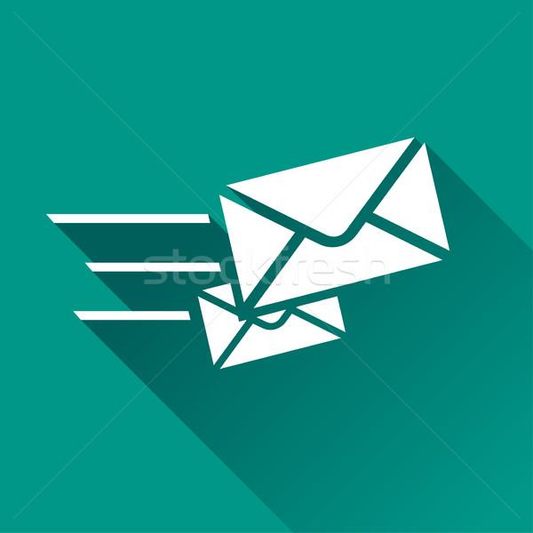 Velocidad mail icono ilustración sombra signo Foto stock © nickylarson974