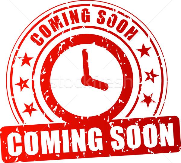 Hamarosan jön piros bélyeg illusztráció fehér óra Stock fotó © nickylarson974