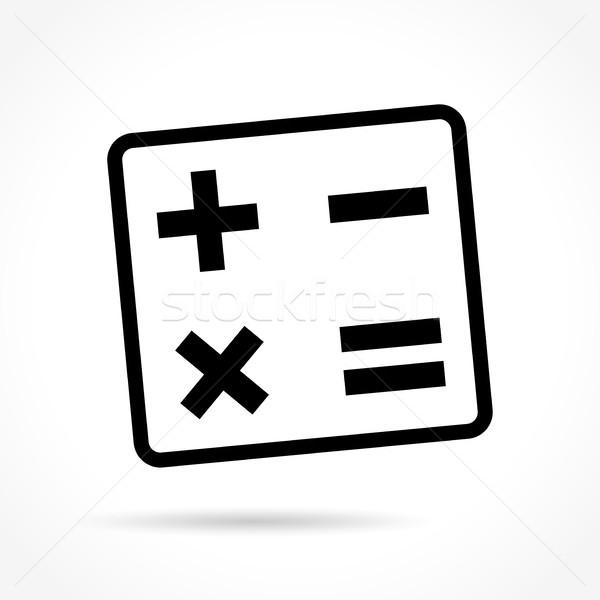 Mathématiques icône blanche illustration ordinateur éducation Photo stock © nickylarson974