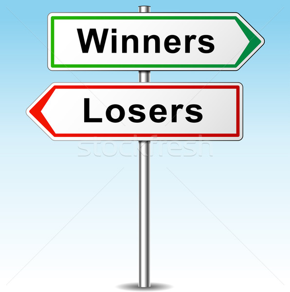 Vector winners and losers direction sign Stock photo © nickylarson974