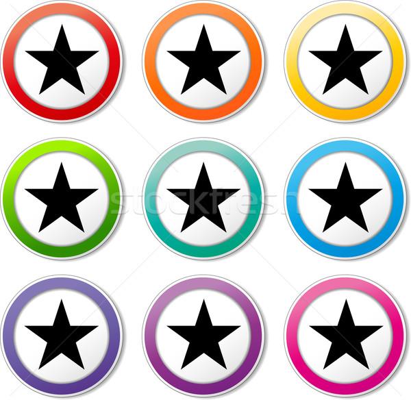 Star ikona ilustracja różny kolory zestaw Zdjęcia stock © nickylarson974