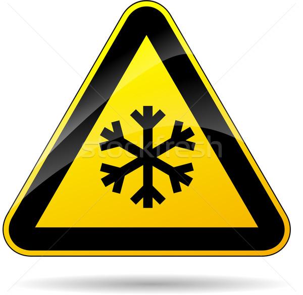 снега желтый знак иллюстрация треугольник дороги Сток-фото © nickylarson974